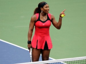 Serena Williams talking to the chair umpire at the US Open. Photo: Getty Images